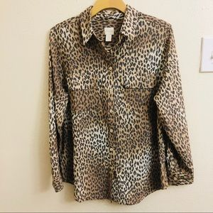 Chico's Animal Print Long Sleeve Button Down Size2